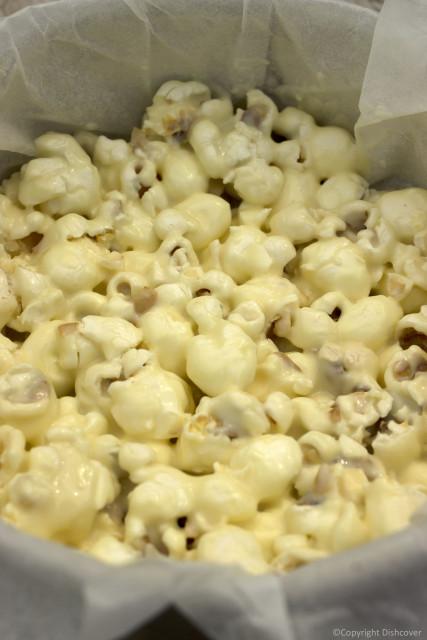 Popcorn met witte chocolade