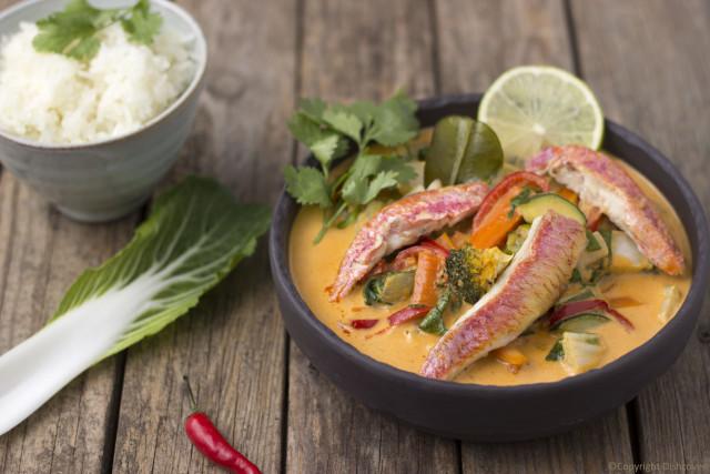 Thaise viscurry met groenten