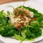 Kabeljauw in mosterdsaus en mosterdgranola