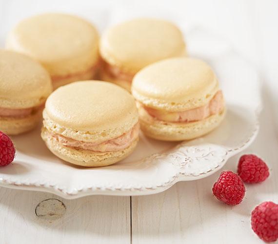 Vanillemacarons met frambozen-botercrème